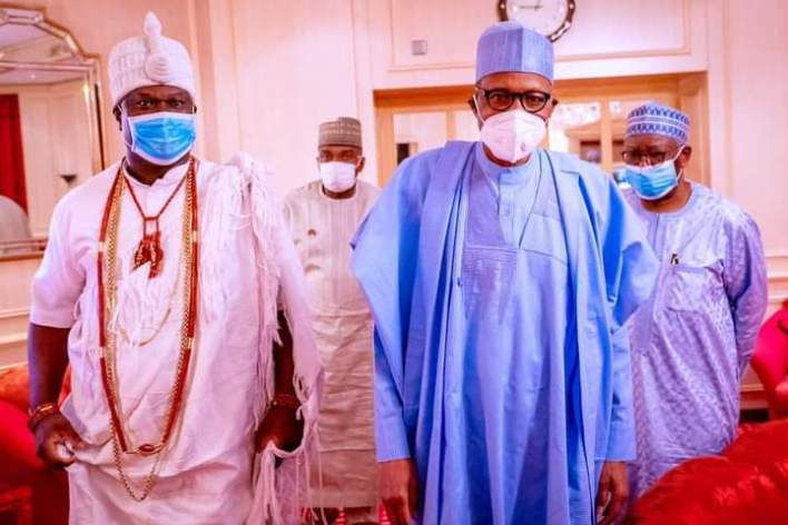 Buhari receives Ooni of Ife in Aso Rock (PHOTOS)