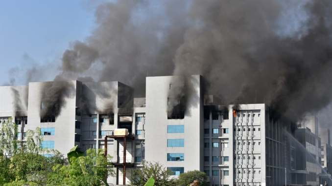 PHOTOS: Huge Setback As Fire Guts Largest COVID-19 Vaccine Manufacturing Plant