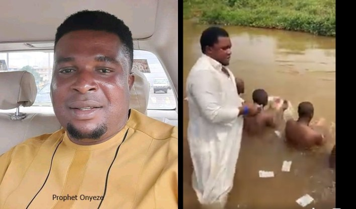 Prophet Onyeze Jesus Who Was Caught Spraying Money On Naked Men And Women In Anambra River Arrested