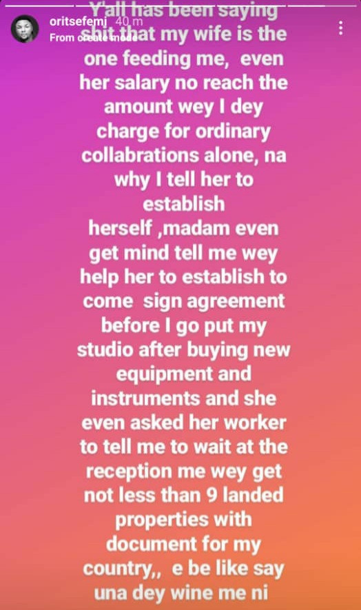 Oritsefemi reacts to allegations his wife Nabila is the one 'feeding' him