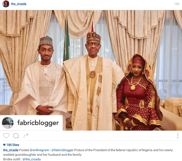 Photos: President Buhari's granddaughter reportedly weds