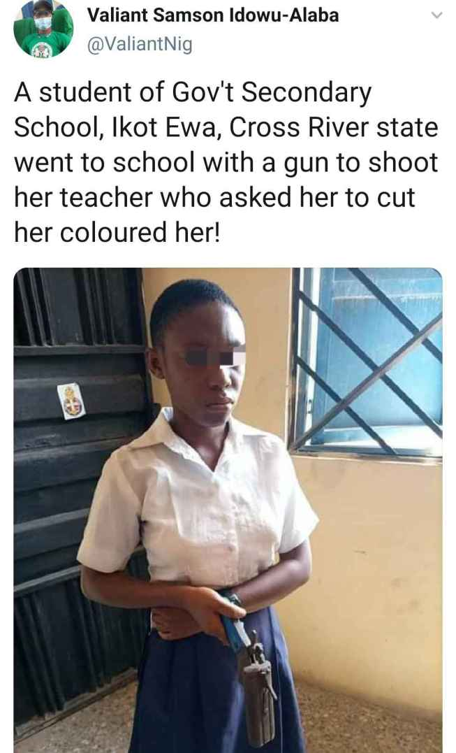 Student Caught And Arrested For Taking Gun To School To Shoot Her Teacher In Akwa Ibom