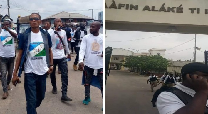 Youths storm Alake's Palace after launching Oduduwa security outfit in Ogun [VIDEO]