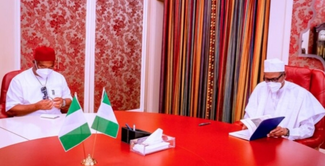 50 suspects arrested over Imo attacks, says Uzodinma as he meets President Buhari