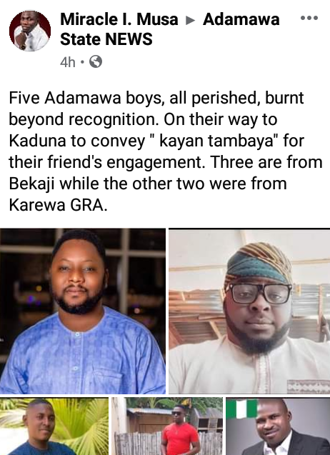 PHOTOS: Five Men burnt to death in fatal motor accident on their way to a friend's engagement in Kaduna
