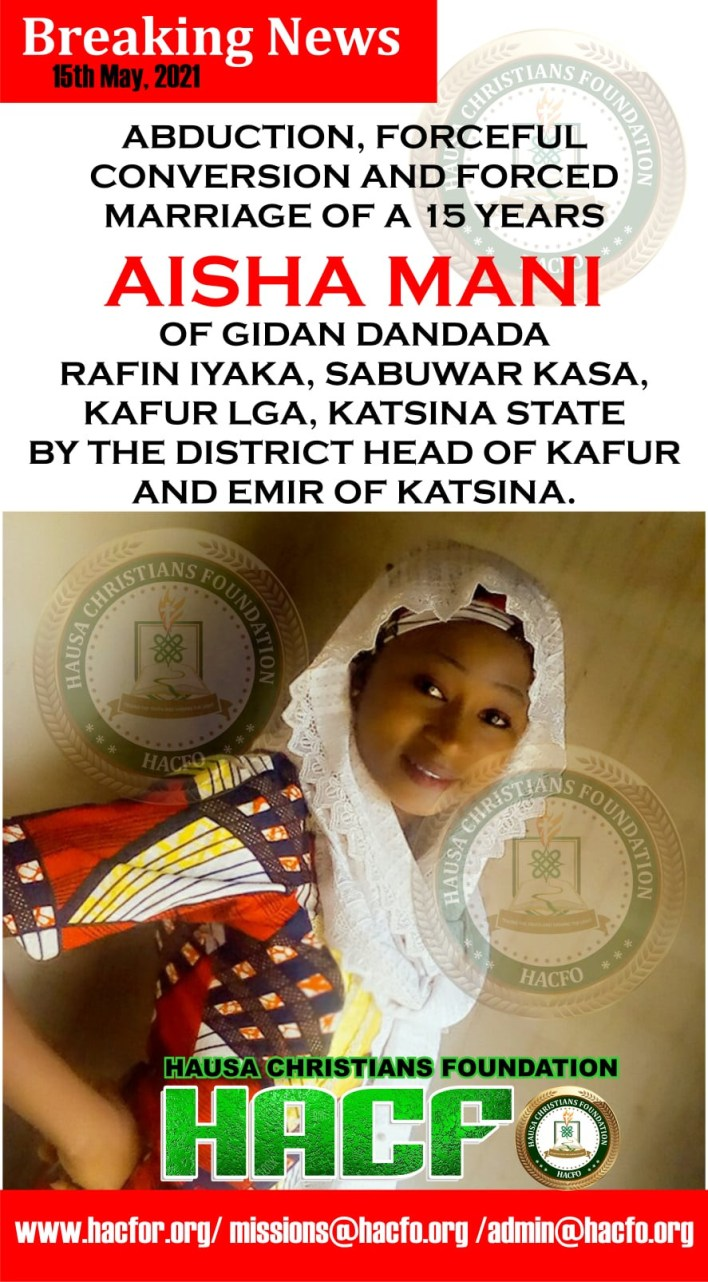 Christian girl, 15, allegedly abducted, forcefully converted to Islam and married off to abductor in Katsina