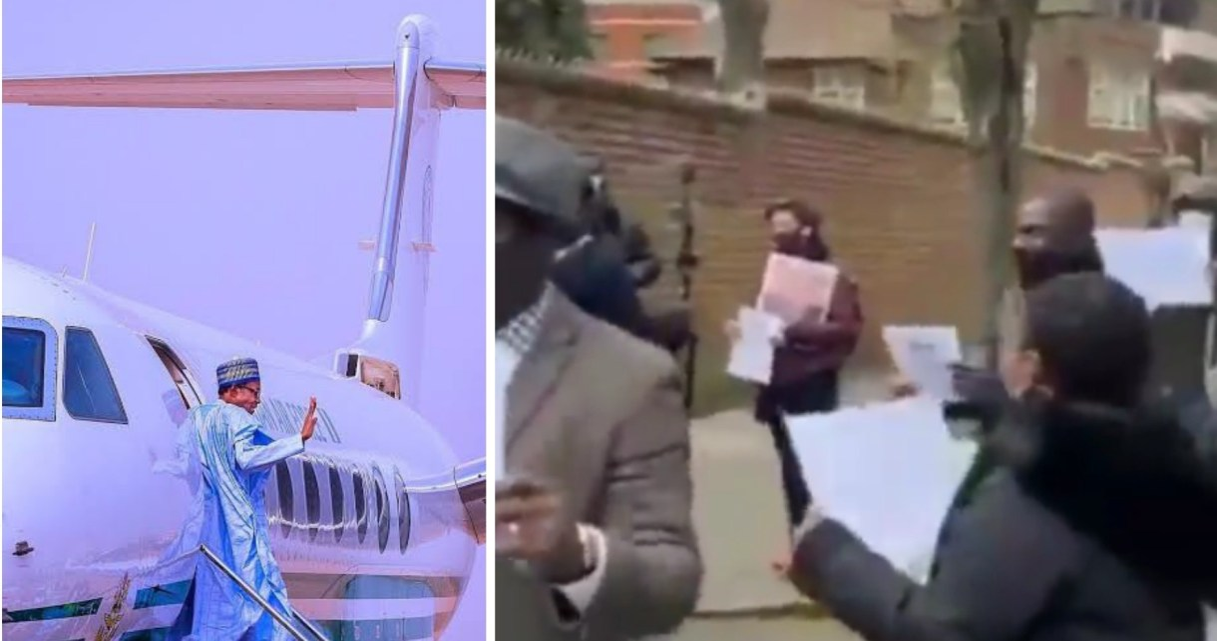 Medical trip: Again, Nigerians occupy Abuja House in London, want Buhari repatriated (VIDEO)