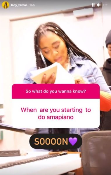 Lady Zamar to start doing Amapiano songs soon