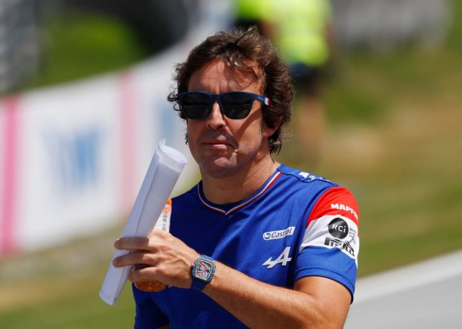 Fernando Alonso during the track walk in Styria