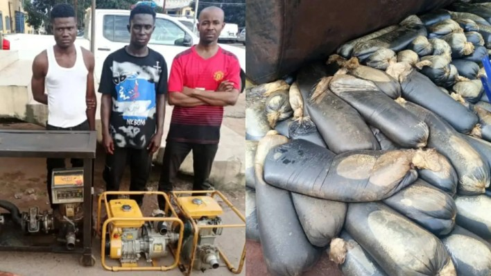Police arrest three alleged pipeline vandals in Imo