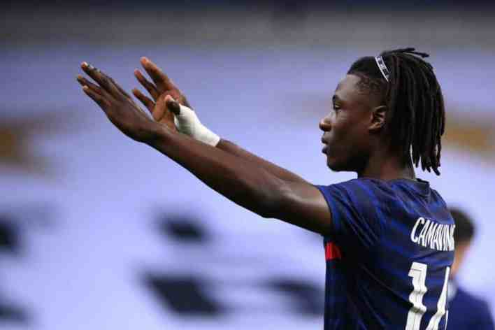 France's midfielder Eduardo Camavinga celebrates after scoring a goal during the International friendly football match between France and Ukraine, on October 7, 2020 in Saint-Denis, outside Paris. (Photo by FRANCK FIFE / AFP) (Photo by FRANCK FIFE/AFP via Getty Images)