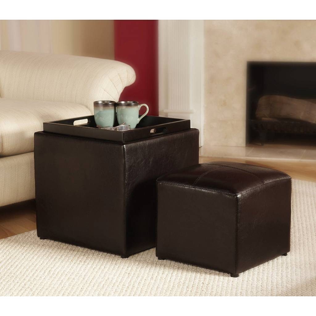 target 3 piece sheridan faux leather storage ottoman with tray 29 99