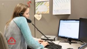 Office girl on phone