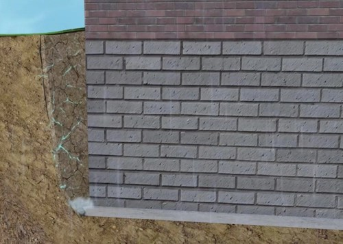 Hydrostatic pressure from fill soils expanding around basement walls