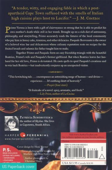 Back cover image of the novel, A Time of Angels
