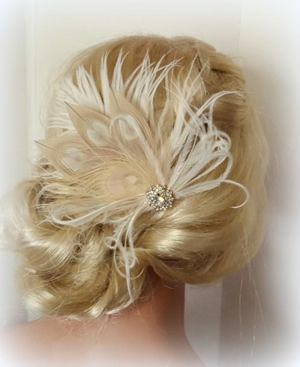 champagne ivory feather fascinator wedding hair accessories bridal hair fascinator vintage style fascinator