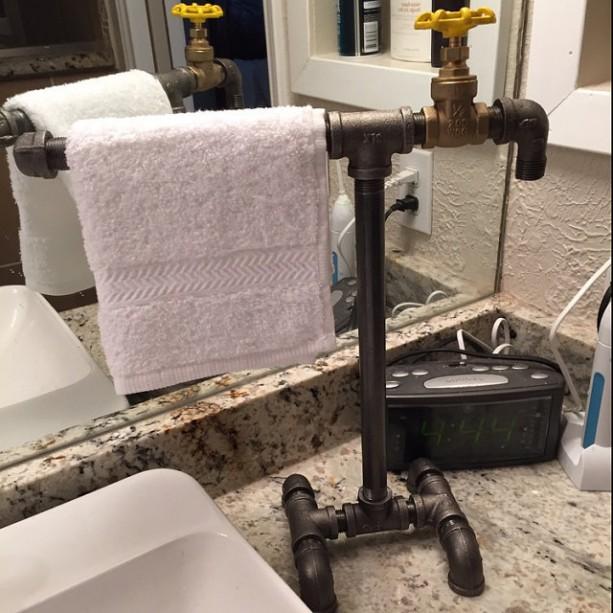 industrial black iron pipe towel bar towel rack bathroom kitchen decor sturdy countertop towel bar sale
