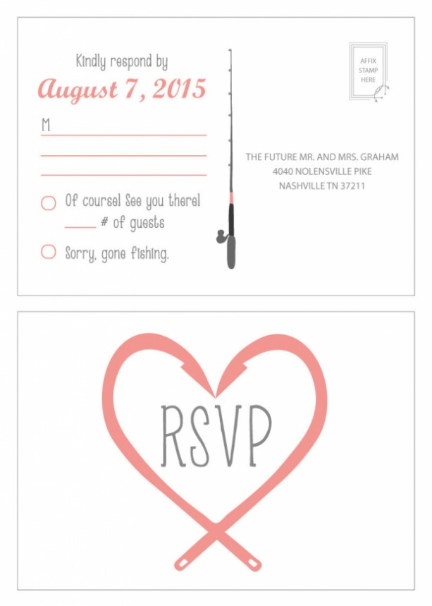 Gone Fishing Wedding Invitation And Rsvp Postcard Modern Design Printable Or Printed Envelopes Included Poles Hooks Love