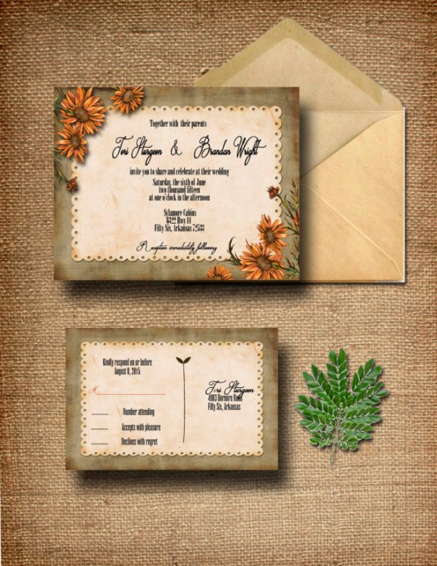 Custom Wildflower Wedding Invitation With Rsvp Country Invitations Rustic
