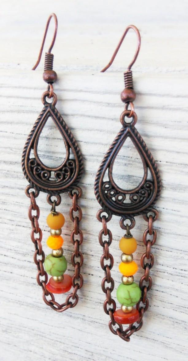 Copper Boho Earrings Boho Jewelry Gypsy Earrings Bohemian