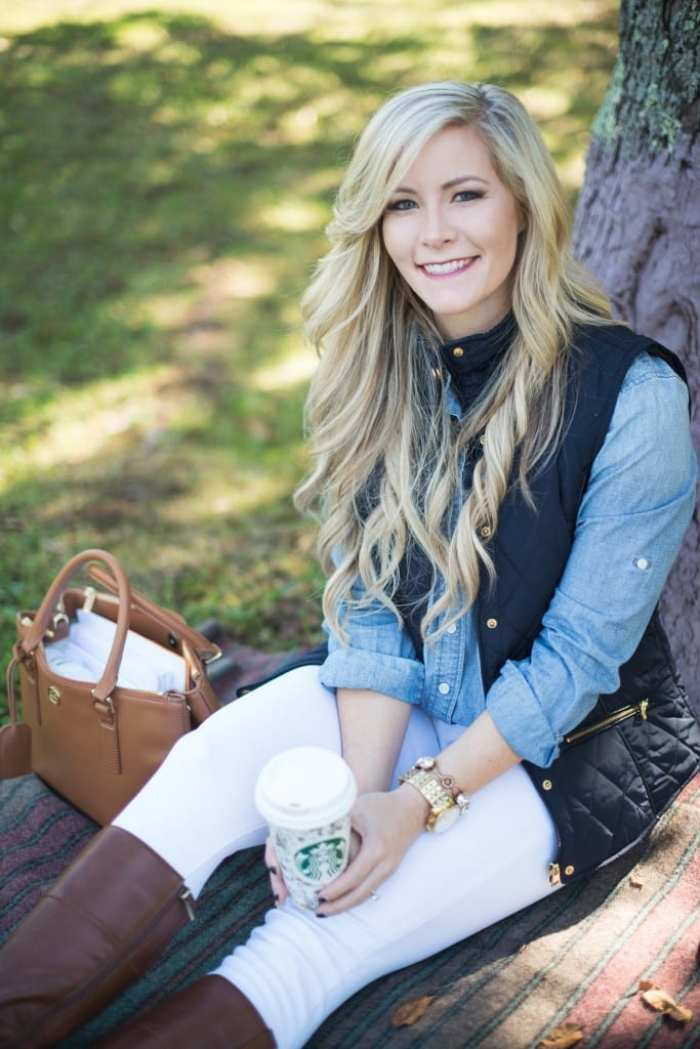 Afternoon Espresso-Blogger-Puffer Vest- J.Crew-White Denim-Joe's Jeans- Tory Burch Riding Boots-Ashley Pletcher7