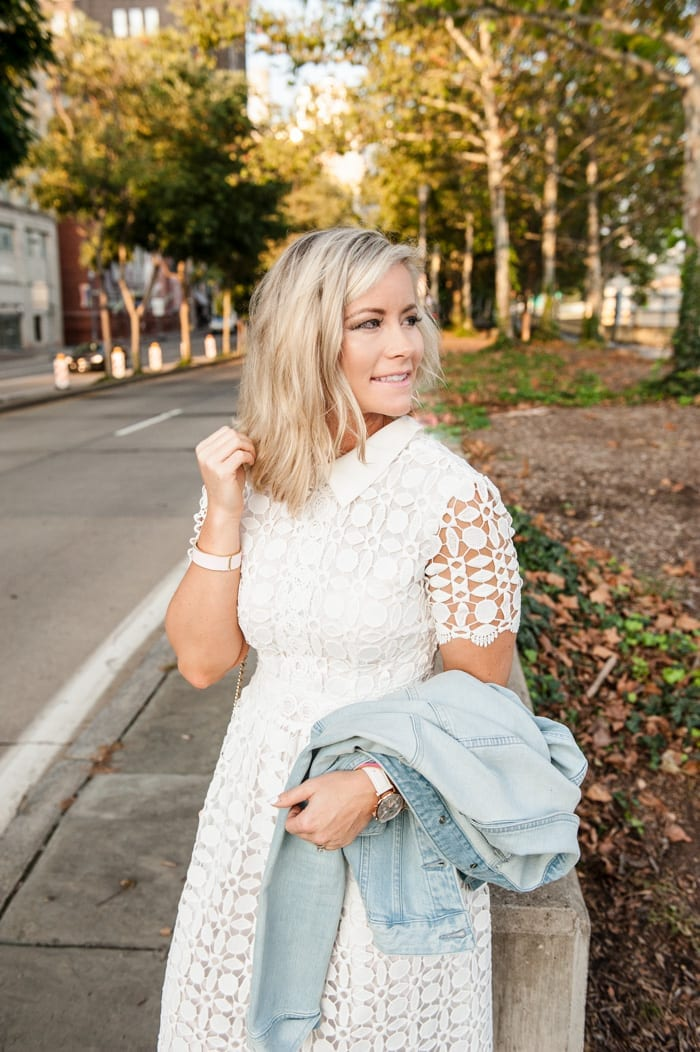 Ashley Pletcher enjoys a summer evening in downtown Pittsburgh with a textured Chicwish Dress.