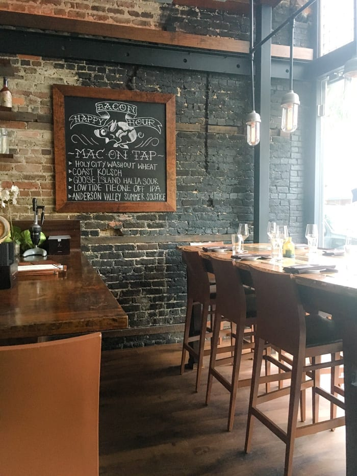 Known for it's Bacon Happy hour, Macintosh offers a modern cuisine with a southern twist in Charleston, SC