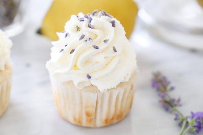 Ashley Pletcher of Afternoon Espresso uses lavender in this calming lemon lavender cupcake recipe!