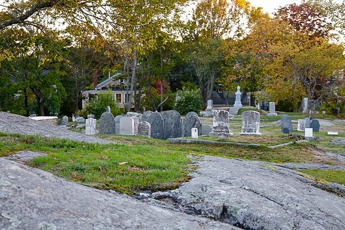Old Burial Hill cemetery in Marblehead MA is the location of the iconic cemetery from the movie Hocus Pocus.