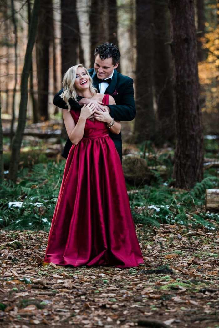A Christmas tradition with blogger, Ashley Pletcher and her husband wearing Monique Lhullier and Tommy Hilfiger.