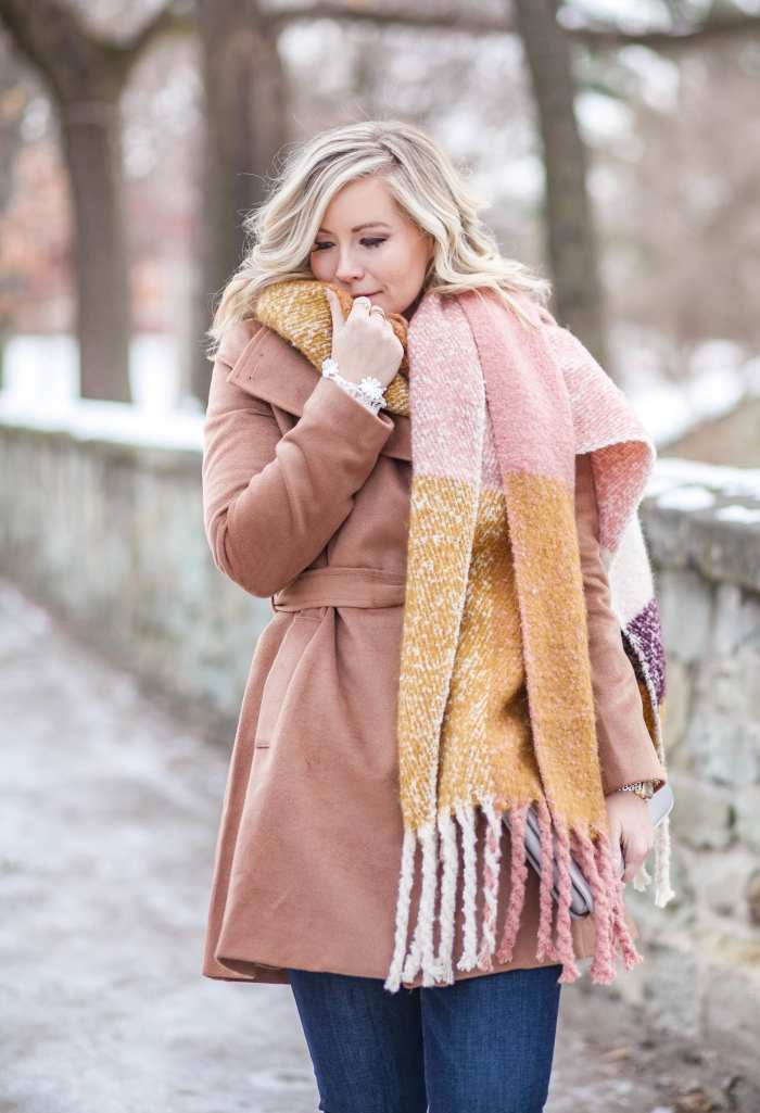 Cozy coats and oversized scarves winter outfit