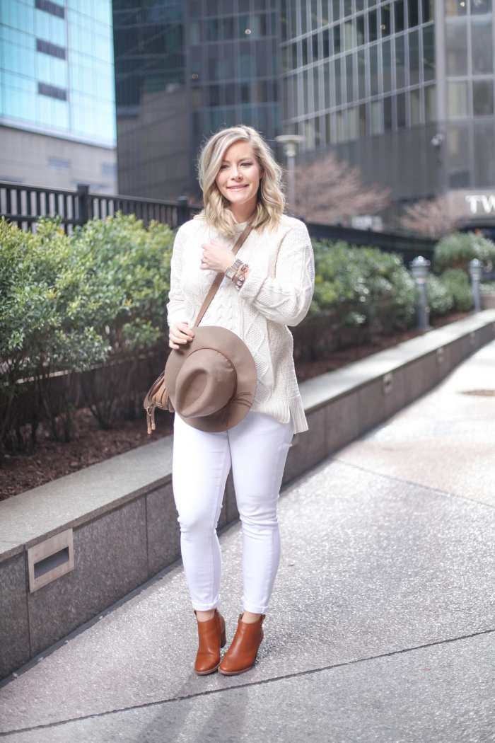 Urban Outfitters Cable Knit Sweater - Sale- Asos Maternity Denim-Ashley Pletcher - Afternoon Espresso