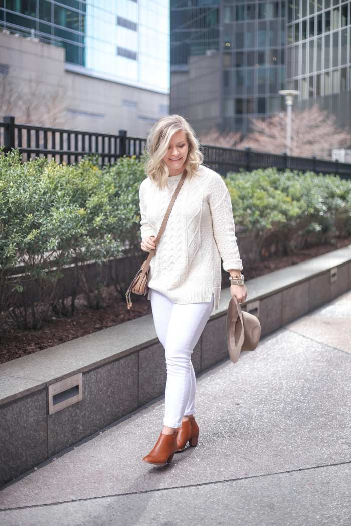 Urban Outfitters Cable Knit Sweater - Sale- How to turn your winter wardrobe into a spring transition look