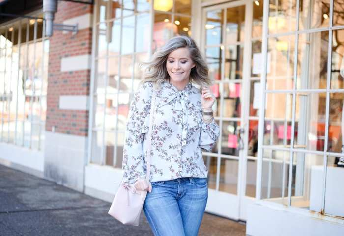 Spring Transition - Floral Prints- Floral Blouse- Mansur Gavriel Bag- AG Denim - Ashley Pletcher