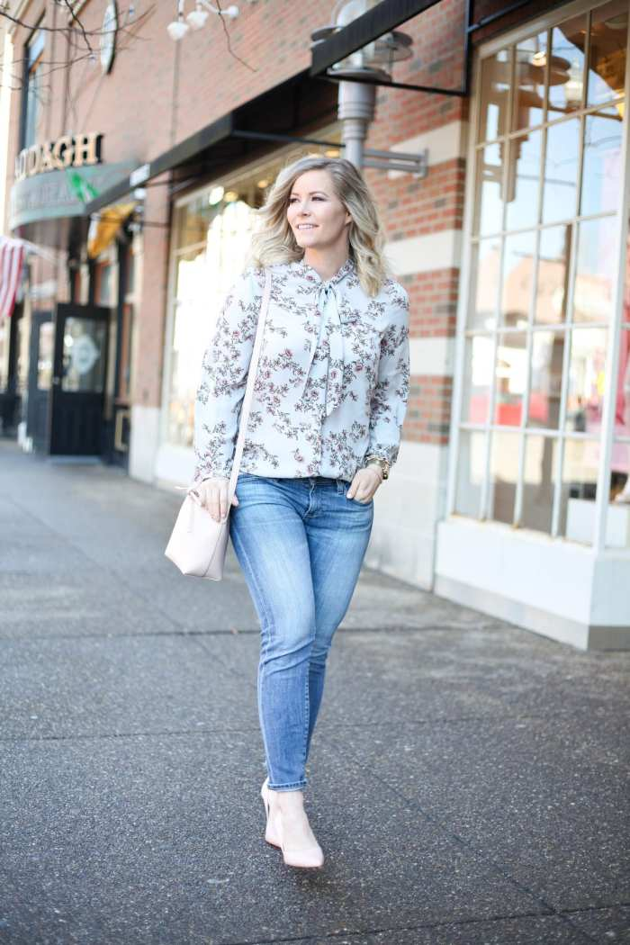 Spring Transition - Floral Prints- Floral Blouse- Mansur Gavriel Bag- AG Denim - Ashley Pletcher -Pittsburgh Blogger