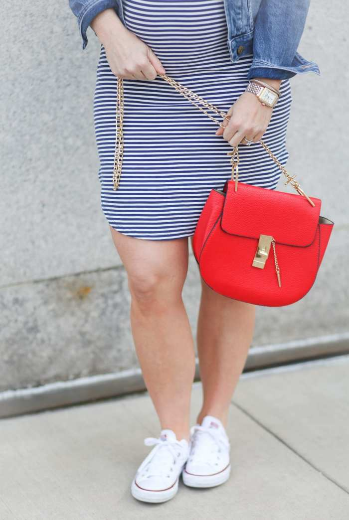 Chloe Drew Bag - Converse Sneakers - Americana Fashion - Summer Fashion - Summer Maternity
