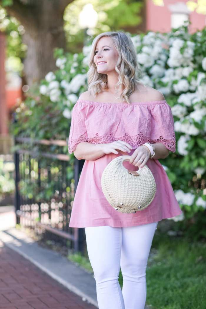 Trendy Maternity Wear - Ingrid and Isabel- Bumpdate - Basket Purse- Off the Shoulder Blouse