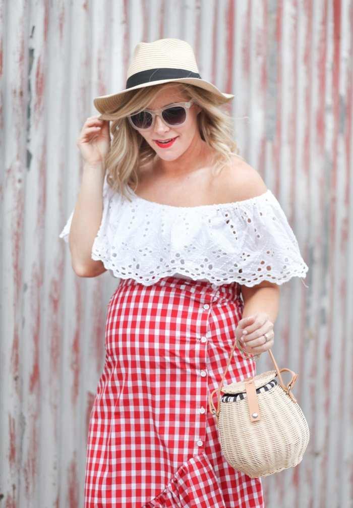 Summer Fedora Basket Bag Gingham Skirt