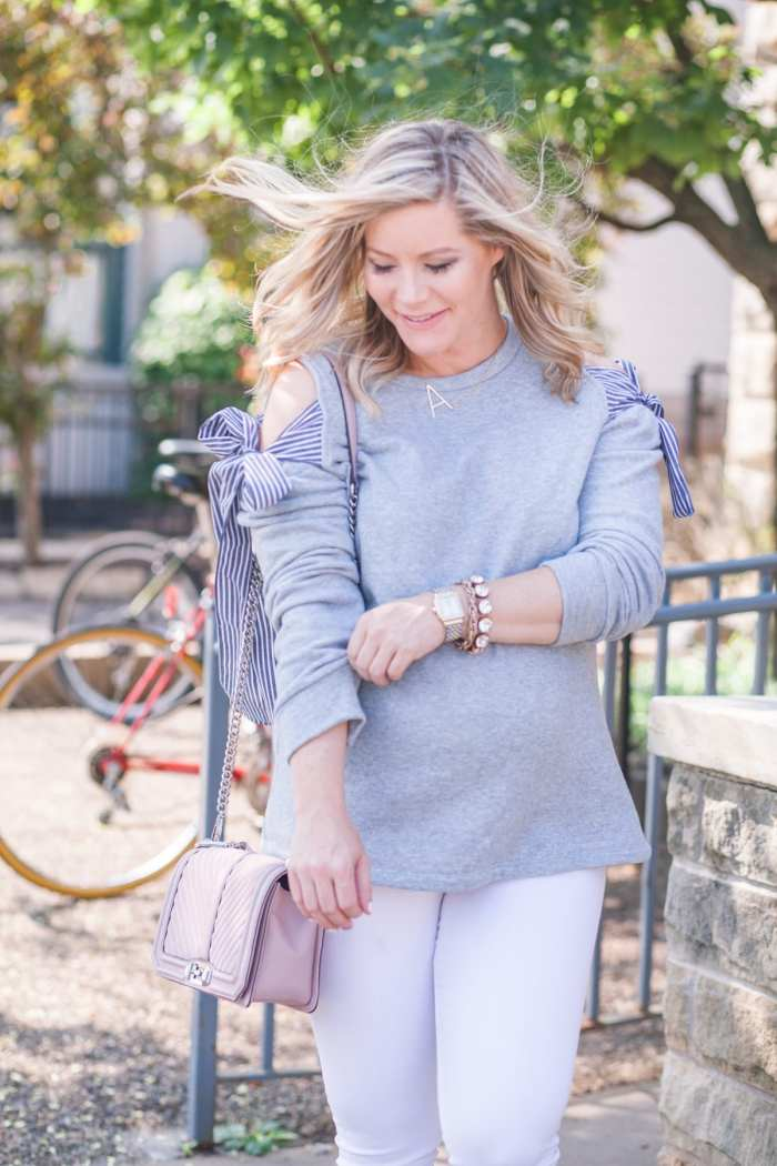 Fall Transition Outfit- Blogger- Ashley Pletcher- Rebecca Minkoff-Nordstrom Anniversary Sale- Cold Shoulder Sweatshirt- Pleione
