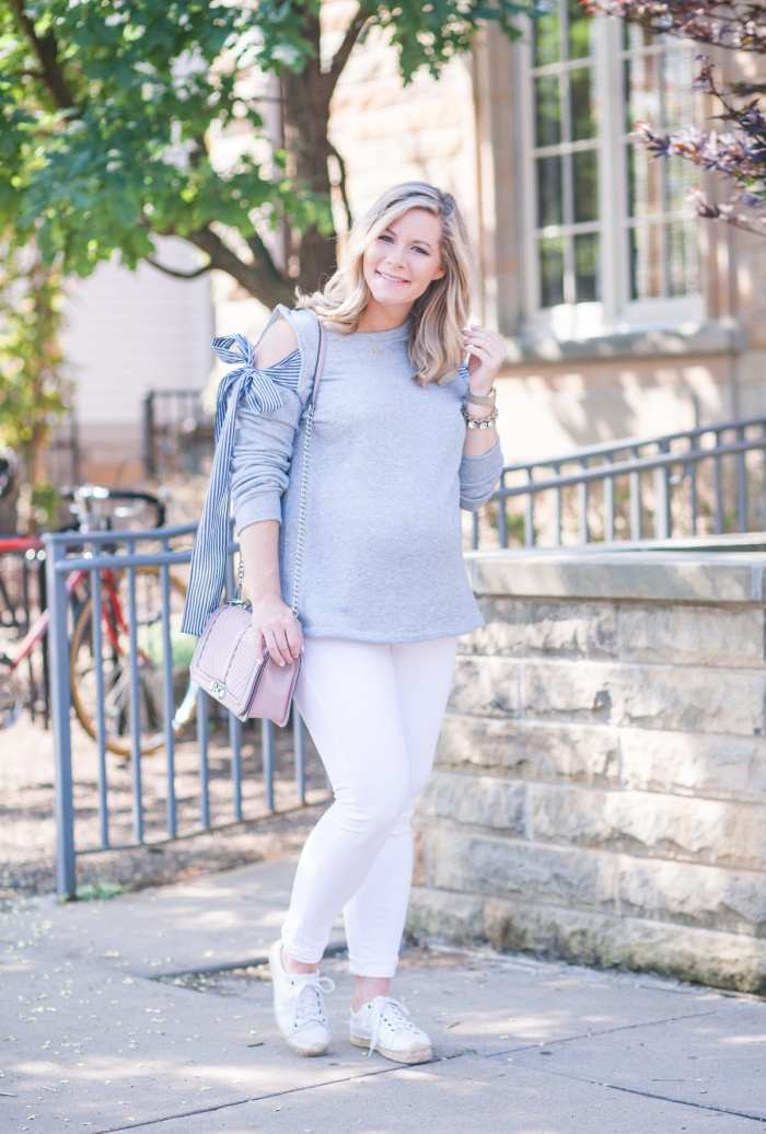 Fall Transition Outfit- Blogger- Ashley Pletcher- Rebecca Minkoff-Nordstrom Anniversary Sale- Cold Shoulder Sweatshirt- Pleione