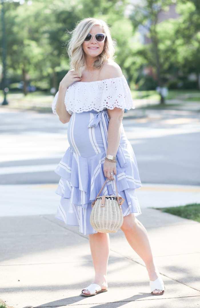 Ashley Pletcher - fashion blogger - maternity - maternity fashion - off the shoulder blouse- ruffle trends