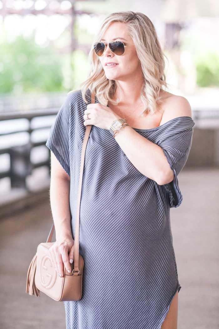Free People Summer Maxi Dress- Maternity Fashion- Ray Ban Sunglasses - Michele Watch