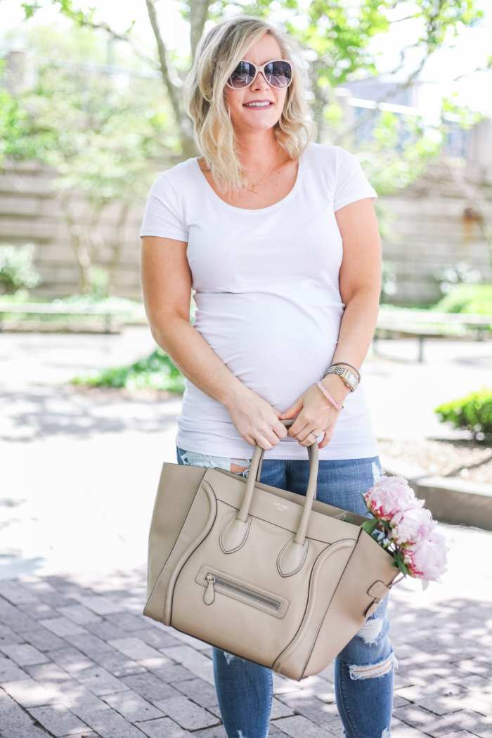 Ashley Pletcher - fashion blogger - Celine bag - mom blog - maternity - ripped jeans - flowers - peonies - white tee shirt