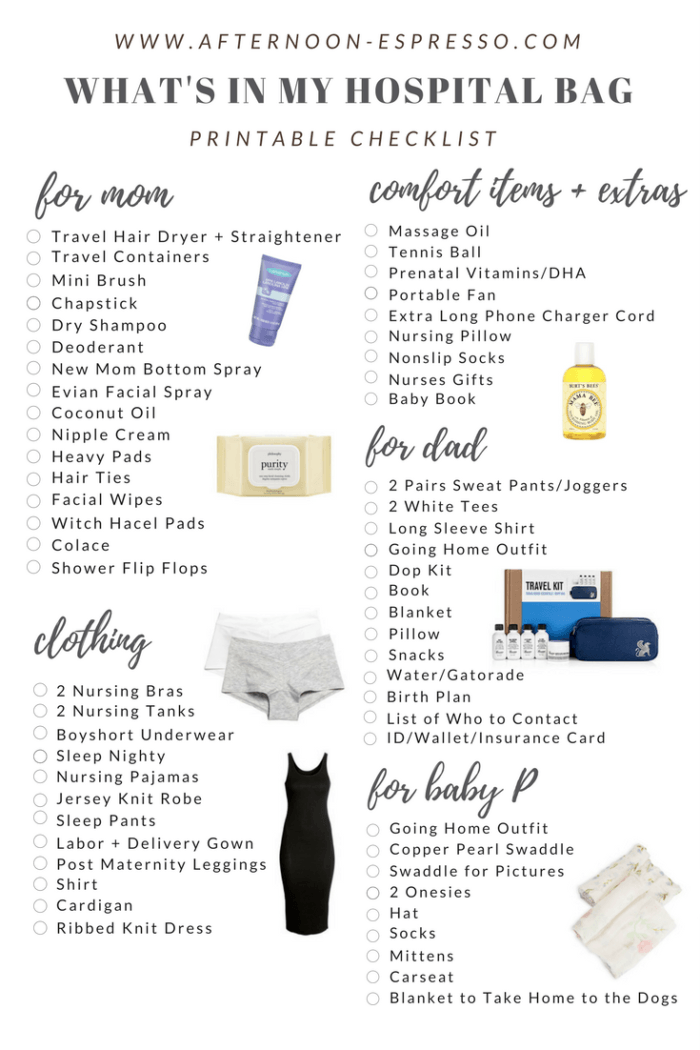 graphic regarding Printable Hospital Bag Checklist referred to as Whats in just my Healthcare facility Bag + Printable Listing For On your own