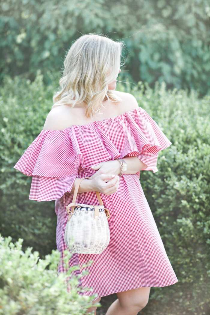 Chichwish- Red Gingham off the shoulder Dress- Blogger- Ashley Pletcher