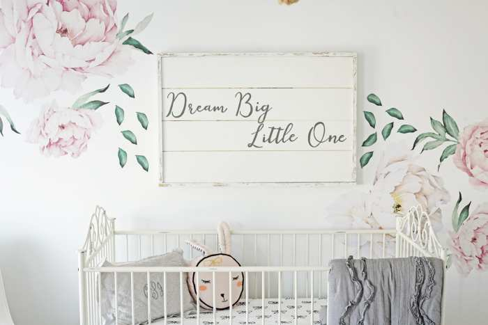 Dream Big, Little One - Baby Nursery Decoration - Floral Wall Decals