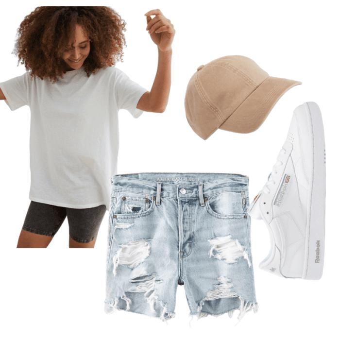 Summer look- Afternoon espresso summer staples- covid summer- casual summer- aerie boyfriend tee