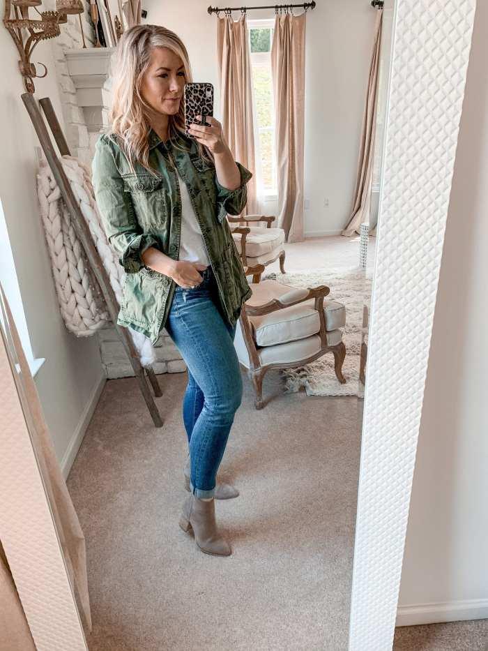 Anniversary Sale- Closet Staple Items- Fall Sale- Ashley Pletcher- Caslon Utility Jacket-AG Super Skinny Legging