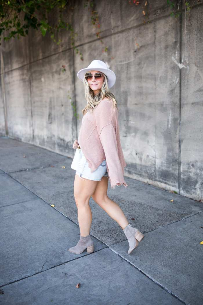 transitiong my closet- fall transition pieces- Marc Fisher Booties- Free People Sweater- White Wide Brim Hat-Ashley Pletcher