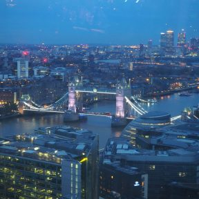 View of the London Brudge from the Aqua Shard at sunset